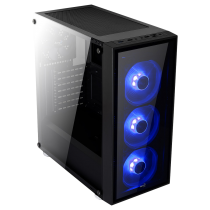Quartz Black Midi Tower Blue LED Fans Glass Front & Side Panel