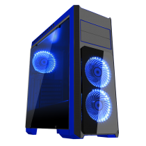 Flash Mid Tower Black Blue With 3x12cm 33 Blue LED Fans Glass Side Top Front