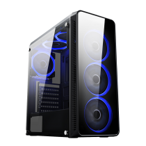 Blaze Gaming Chassis 6 x Single Ring Fan Blue Tempered Glass