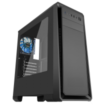 Dark Soul Black Midi Case With 1 x 12cm Blue 4 LED Rear Fan Side Window Panel