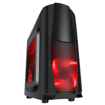 Dragon³ Midi Black Case With 12cm Red LED Fans & Side Window