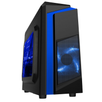 F3 Black Micro-ATX Case With 12cm Blue LED Fan & Blue Stripe