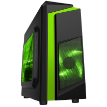 F3 Black Micro-ATX Case With 12cm Green LED Fan & Green Stripe