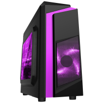 F3 Black Micro-ATX Case With 12cm Purple LED Fan & Purple Stripe