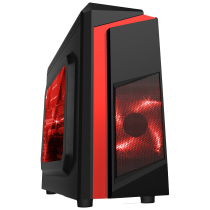 F3 Black Micro-ATX Case With 12cm Red LED Fan & Red Stripe