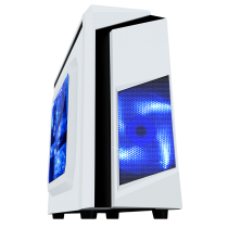 F3 White Micro-ATX Case With 12cm Blue LED Fan & Black Stripe