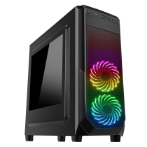 Prism Black RGB Case With 2 x RGB Front Fans 1 x USB 3.0 & Side Window