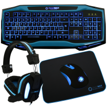 Raptor Keyboard Mouse Headset Mouse Mat Kit Blue